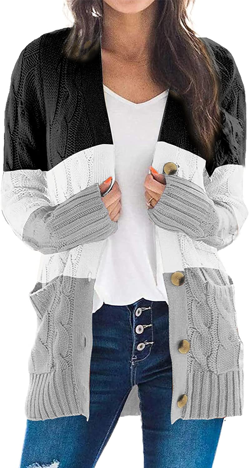 SESERAGI Womens Long Sleeve Cardigan Cable Knit Chunky Sweater Outwears Button Down Pockets