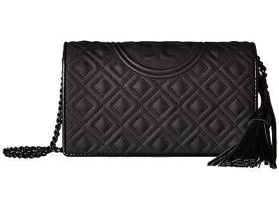 Tory Burch Fleming Matte Flat Wallet Crossbody (Black) Wallet