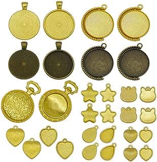 ミール皿 懐中時計 しずく ネコ ハート 丸 アクセサリー イヤリング レジン パーツ ゴールド 金古美 30枚 セット