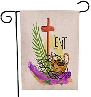 Gesmatic Garden Flags for Outside, Garden Flag Christmas 12.5 X 18 Lent Season Religious Abstract Artistic Watercolor Style Crown Palm Oil for Homes, Yards and Gardens