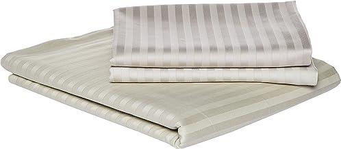 طقم سرير فندقي من الكتان باللون الحجري - مقاس كوين 240 × 260 سم - 3 قطع