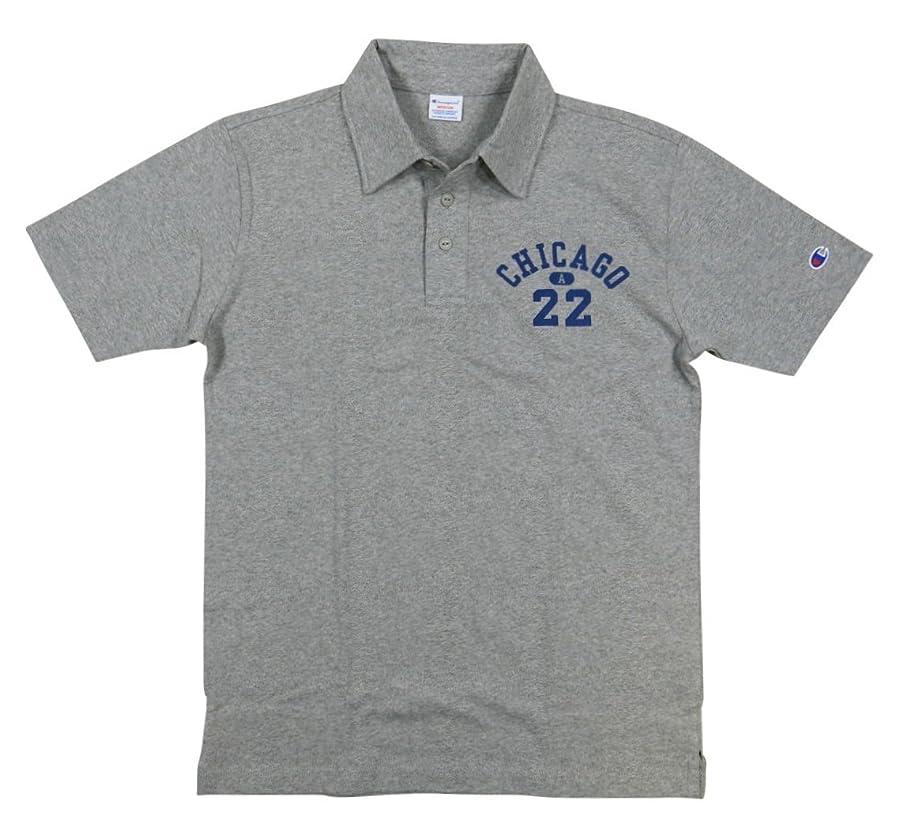 割り当てます国民楽観的(チャンピオン) Championトリコロールタグ カレッジプリント 半袖 天竺 ポロシャツ