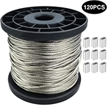 1/16 Wire Rope, 304 Stainless Steel Wire Cable, 328FT Length Aircraft Cable, 7x7 Strand Core, 368 lbs Breaking Strength, with 120 Pcs Aluminum Crimping Clamps Loop Sleeve
