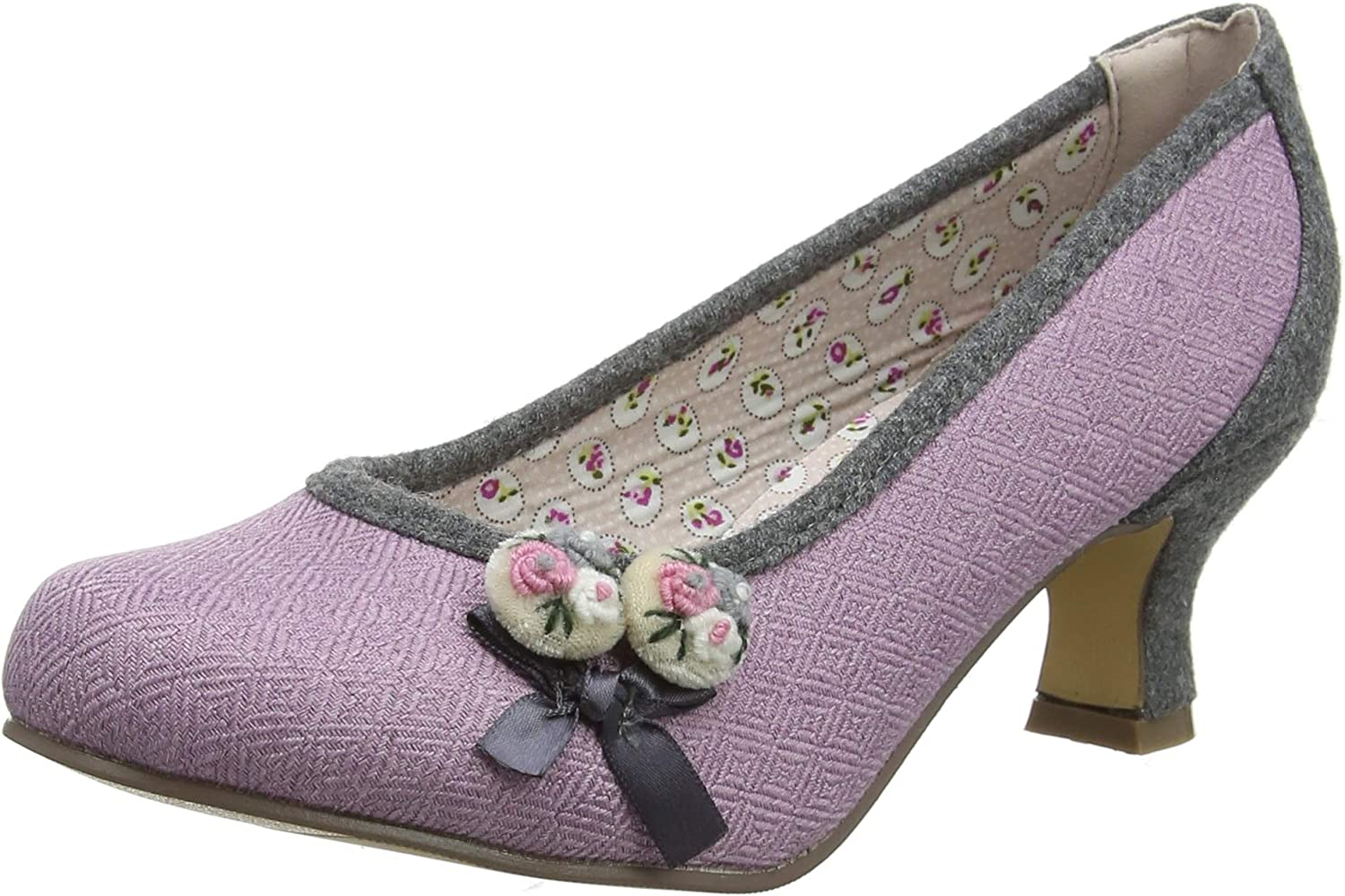 Joe Browns Womens Floral Embroidered Button Bow shoes