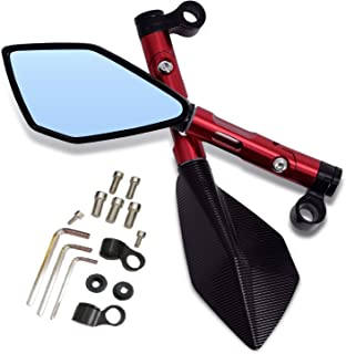 Universal Motorcycle 8mm/10mm CNC Rearview Side Mirrors for Street Sports Bike Chopper Ruiser (Red)