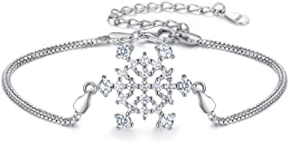 EleQueen 925 Sterling Silver CZ Double Strand Winter Snowflake Bridal Bracelet Box Chain