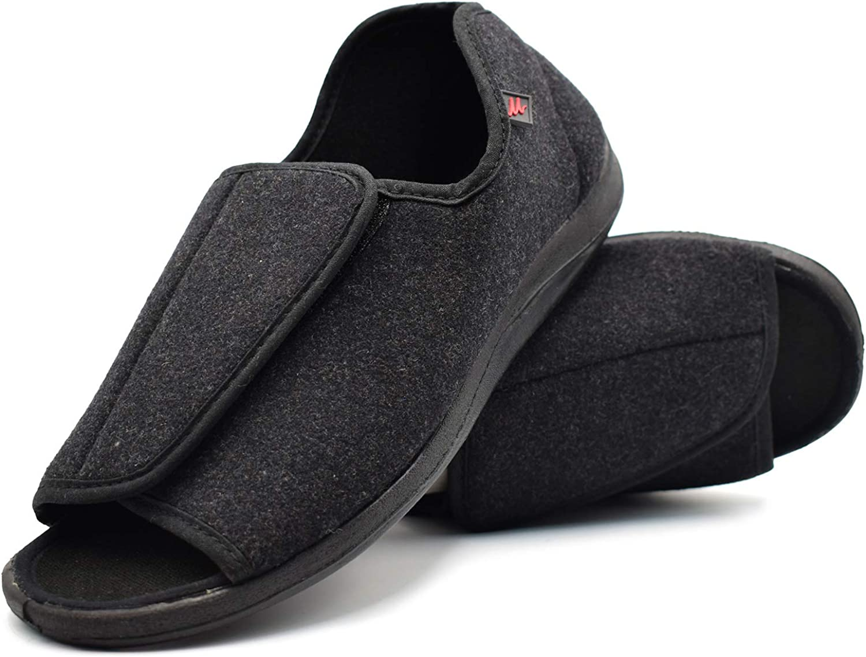 W&Lesvago Wide Width Men's Adjustable Diabetic Slippers - Arthritis Edema shoes