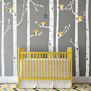Simple Shapes Birch Tree with Owl Wall Decal - Scheme A - 96