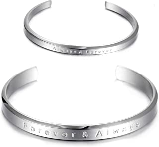 His and Hers Couple Bracelet Stainless Steel Adjustable Cuff Bracelet for Women Men Girls Boys