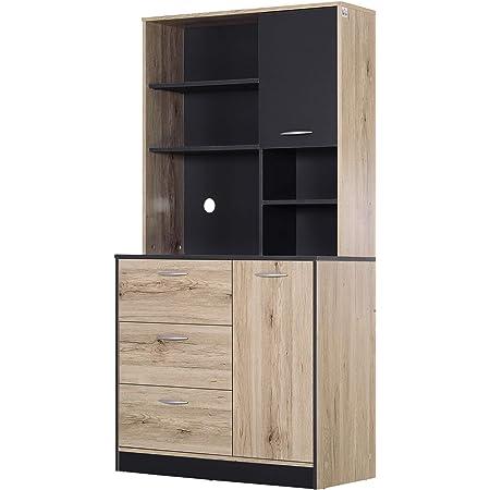 Armoire de cuisine multi-rangements 2 portes 3 tiroirs 3 étagères + grand plateau 90L x 39l x 169H cm bicolore chêne clair gris