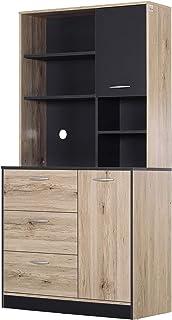 Armoire de cuisine multi-rangements 2 portes 3 tiroirs 3 étagères + grand plateau 90L x 39l x 169H cm bicolore chêne clair...