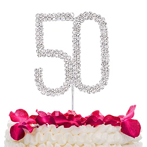 STONCEL Rhinestone Crystal Silver Number Birthday 25th 50th 60th Anniversary Cake Topper
