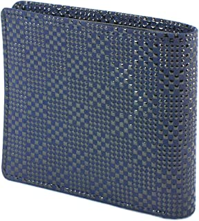 INDEN-YA 印傳屋 印伝 財布 二つ折り財布 メンズ 男性用 紺×黒 変わり市松小 2003-04-167