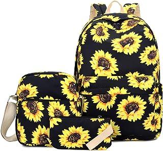 Floral Laptop Backpack, FLYMEI School Backpack for Girl, Teens Backpack with Single-shoulder Bag & Pencil Bag, Travel Casu...