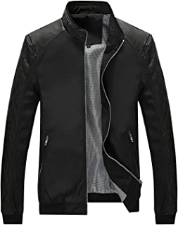 Men's Casual Stand Collar Slim PU Leather Sleeve Bomber Jacket