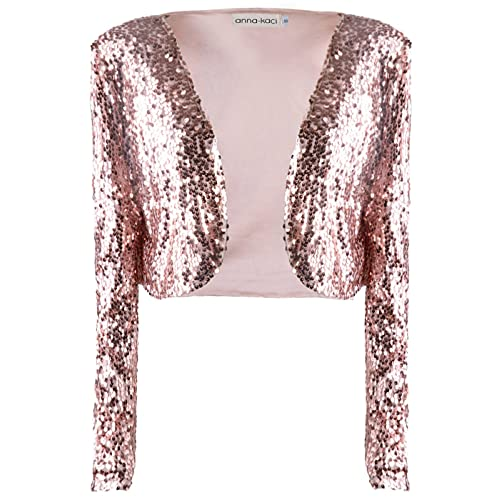 6553c82b Anna-Kaci Womens Shiny Sequin Long Sleeve Cropped Blazer Bolero Shrug
