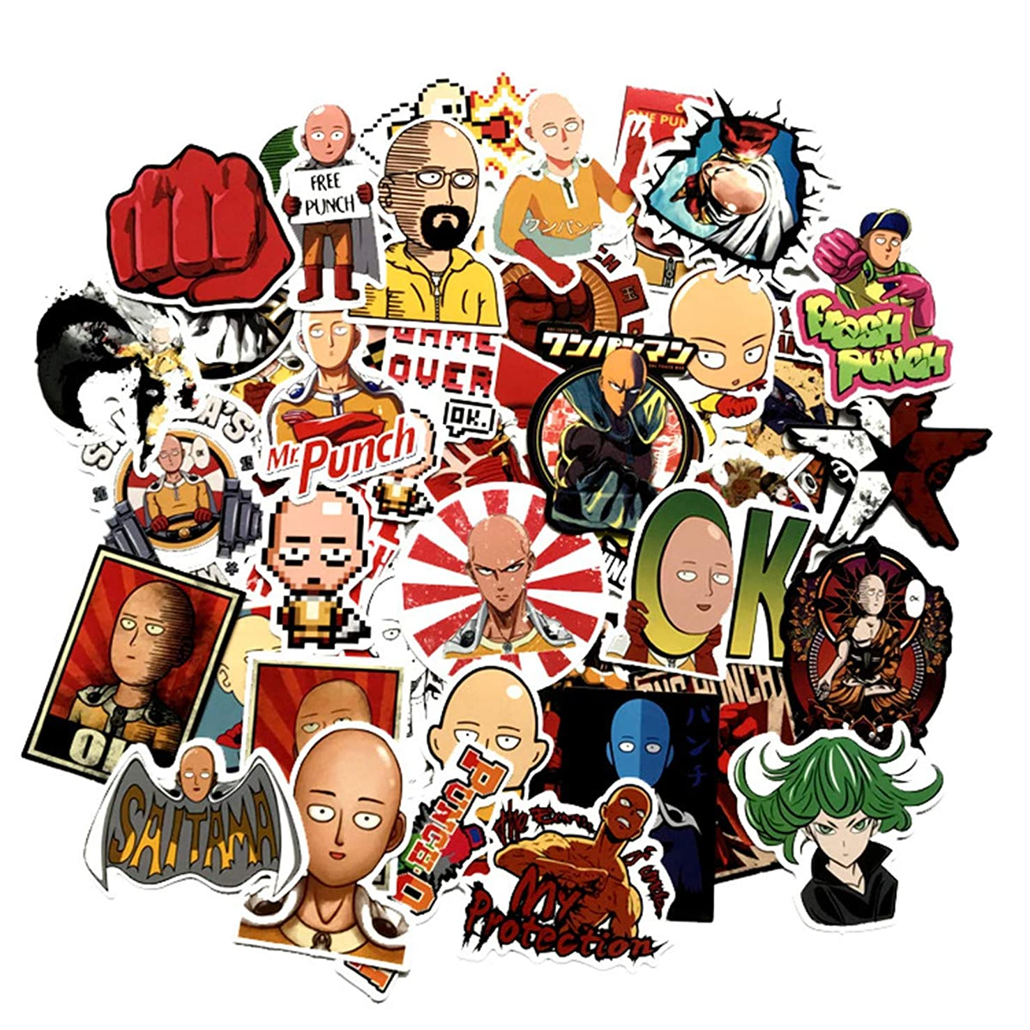 One Punch Man Graffiti Stickers Decals Pack of 50 pcs Car Stickers Motorcycle Bicycle Skateboard Luggage Phone Pad Laptop Stickers and Bumper Patches Decals Waterproof (ONE Punch-Man)