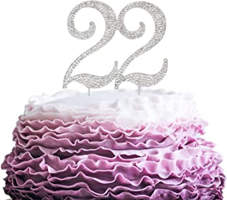 LINGPAR 22 Years Birthday Cake Topper - New Best Crystal Rhinestone 22nd Wedding Anniversary Or 22 Years Old Cake Topper Party Decoration Silver