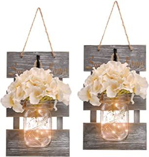 HOMKO Mason Jar Wall Decor with 6-Hour Timer LED Lights and Flowers – Rustic Home..