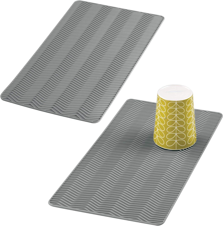 mDesign Juego de 2 alfombrillas escurreplatos para cocina – Tapete de silicona pequeño para fregadero – Escurridor de vajilla y utensilios – Ideal como salvamanteles para ollas y sartenes – gris