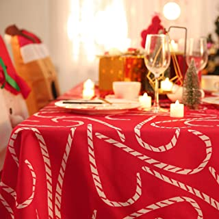 Deconovo Mantel Mesa Rectangular Mantel de Navidad Decoración Dibujo Bastón 137 x 200 cm Rojo