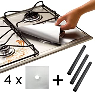Spares2go Universal Heavy Duty Oven Liner & Gas Hob Protector Sheets (Pack Of 4 Silver Sheets + 3 x Liner)