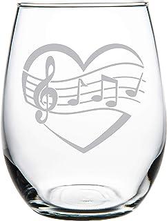 C M Heart, Music 15 oz. stemless wine glass