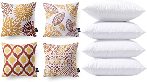 wholesale Phantoscope Bundles, Set of 4 New Living Series Orange and Yellow Pillow Covers 18 x 18 inches popular & Set of 4 Pillow Inserts outlet online sale 18 x 18 inches outlet online sale