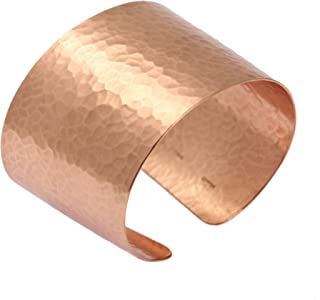 Wide Hammered Copper Cuff Bracelet by John S Brana Handmade Jewelry - 100% Uncoated Solid Copper
