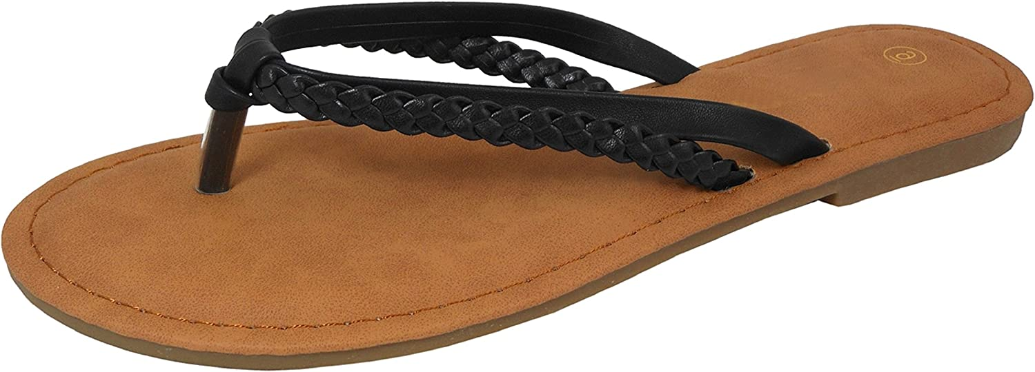 Cambridge Select Women's Slip-On Strappy Woven Braided Thong Flip-Flop Flat Slide Sandal