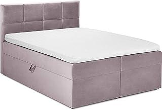 Mazzini Beds Ensemble Mimicry De Lit Boxspring: Tête de lit + Sommier Coffre/Matelas + Surmatelas, Mimicry, Rose, 200x200x60