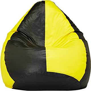 Bean Bag Bro X-Large Inflatable Kids Gaming Chair in Luxury Leatherette Material Fade Resistant for Indoor and Outdoor use Yellow-Black Bean Bag Cover