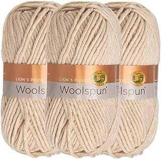 Lion Brand (3 Pack) Woolspun Acrylic & Wool Soft Linen White Yarn for Knitting Crocheting Bulky #5