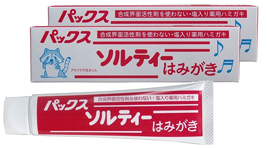 王朝足枷タップパックス ソルティーはみがき (塩歯磨き粉) 80g×2個