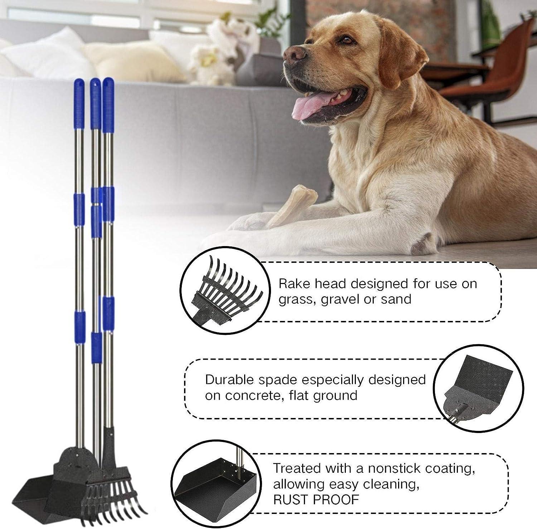 Thrivinger Dog Pooper Scooper Adjustable Long Handle Metal Tray Rake and Spade Poop Scoop Pet Waste Removal Pooper Scooper for Grass Detachable Long Handle Poop Scooper Dirt Gravel
