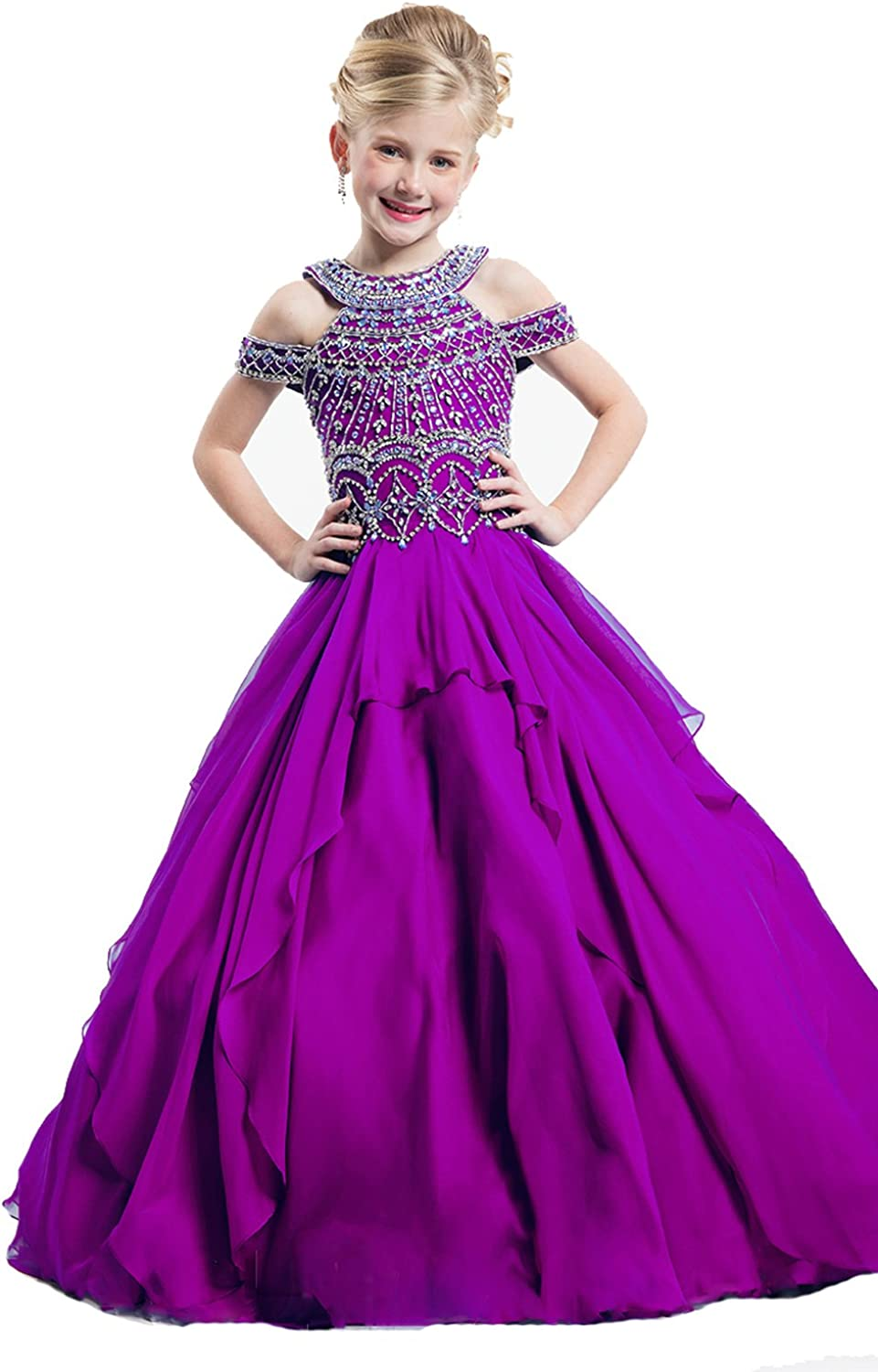 TuanYuan Girls Off Shoulder Beaded Royal Ball Gowns Pageant Dresses