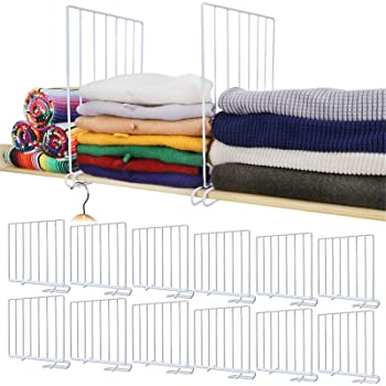 Mebbay 12 Pack Closet Wire Shelf Dividers Vertical Metal Organizer Separators for Wood Shelf Wardrobe Cabinets Kitchen Office Sweater New and Improved, White, 11.8 x 11.8 Inches