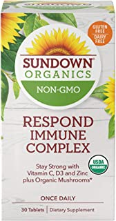 Sundown Organics Respond Immune Complex, Immune System Support with Vitamin C, D3, and Zinc, Gluten Free, 100% Non-GMO, 30...