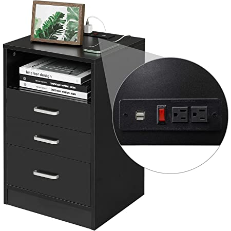 ADORNEVE Black Nightstand 3 Drawers with USB Port,Bedroom End Table Side Table Wooden Sofa Side Stand Cabinet,with Sliding Drawer & Open Storage