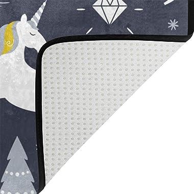 Mydaily Unicorn Christmas Doormat 15.7 x 23.6 inch, Living Room Bedroom Kitchen Bathroom Decorative Lightweight Foam Printed