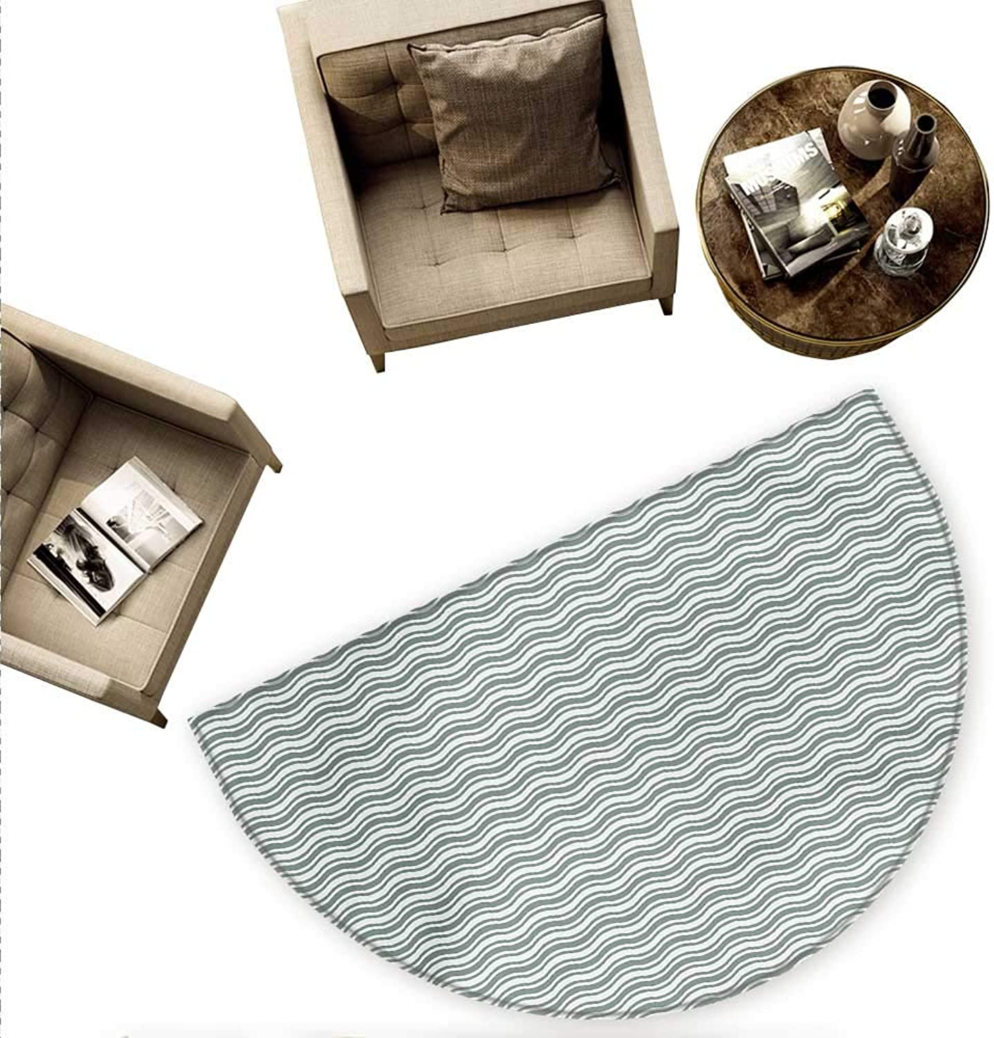 Abstract Semicircular Cushion Curvy Different Sized Lines Bold Stripes Ocean Waves Inspired Pattern Entry Door Mat H 78.7  xD 118.1  Pale Sage Green White