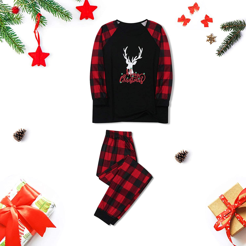 Goldweather Family Matching Pajamas Merry Christmas Reindeer Plaid Print Long Sleeve Pjs Set Winter Xmas Sleepwear Loungewear