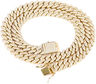 Hip Hop Heavy 14k Gold Plated/White Gold Plated Full Iced Out Miami Cuban Link Chain Necklace/Bracelet 12MM
