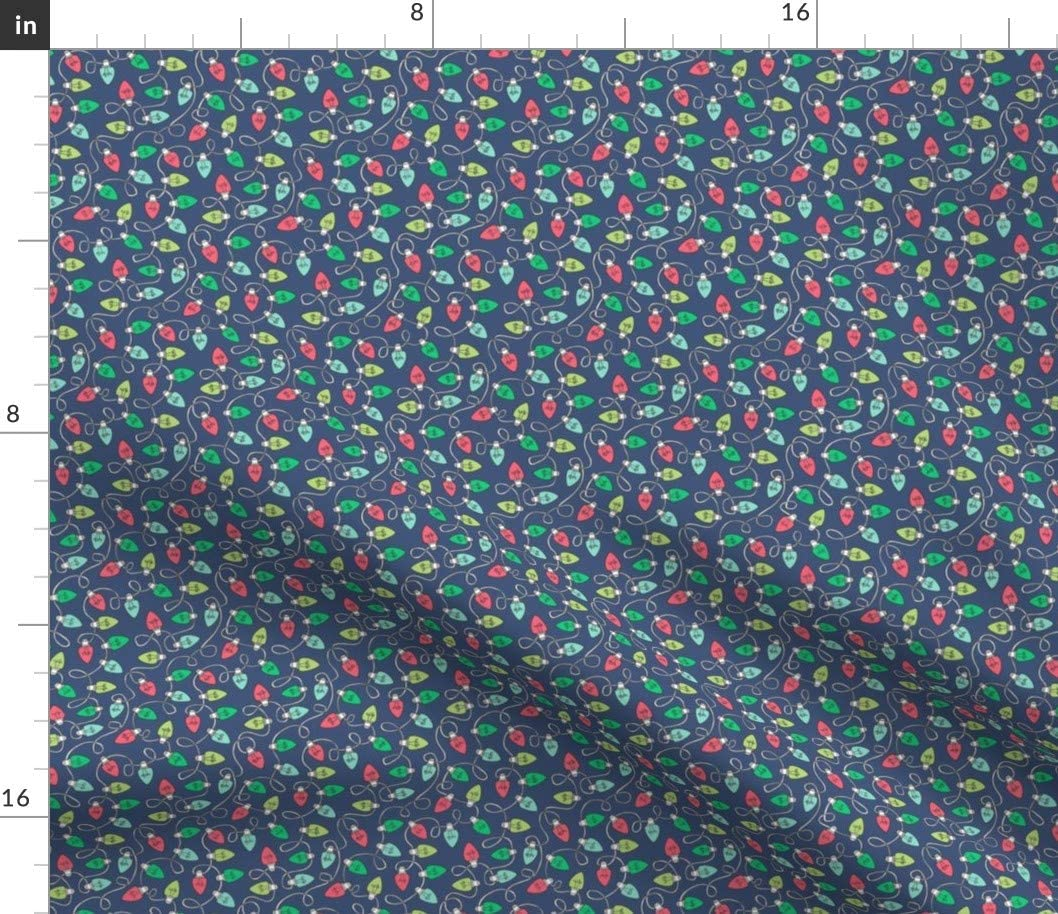 Spoonflower Fabric - Raleigh Mall Christmas Xmas Lights Nav Max 66% OFF Red Green Holiday