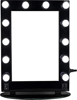 Hiker 12 Led Dimmer Light Pc Body and Glass Base Hollywood Vanity Makeup Mirror Table Top Wall Mount, Black