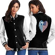 Womens Baseball Uniform Jacket, Greece Greek Flag Half America Flag Half Heart Shaped Sport Sweatshirt Sweater Coat