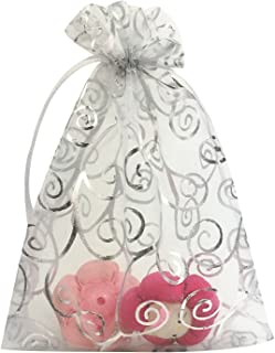ANSLEY SHOP 100pcs 5x7 Inches Drawstrings Organza Gift Candy Bags Wedding Favors Bags (White with Silver)