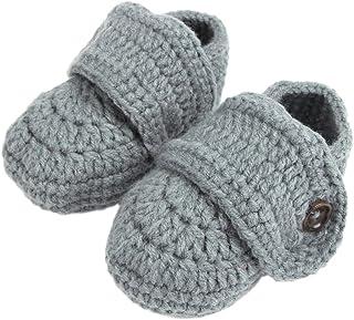 (ビグッド)Bigood ニット靴 ベビーシューズ ファーストシューズ ルームシューズ 新生児 子供用 ボタン付き お祝い ソックスシンプルグレー