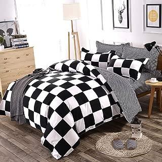 Classical Black and White Cotton Bedding Set Home Textile Bed Linen Duvet Cover Bedclothes Queen Size 3pcs 1 Duvet Cover + 2 Pillow