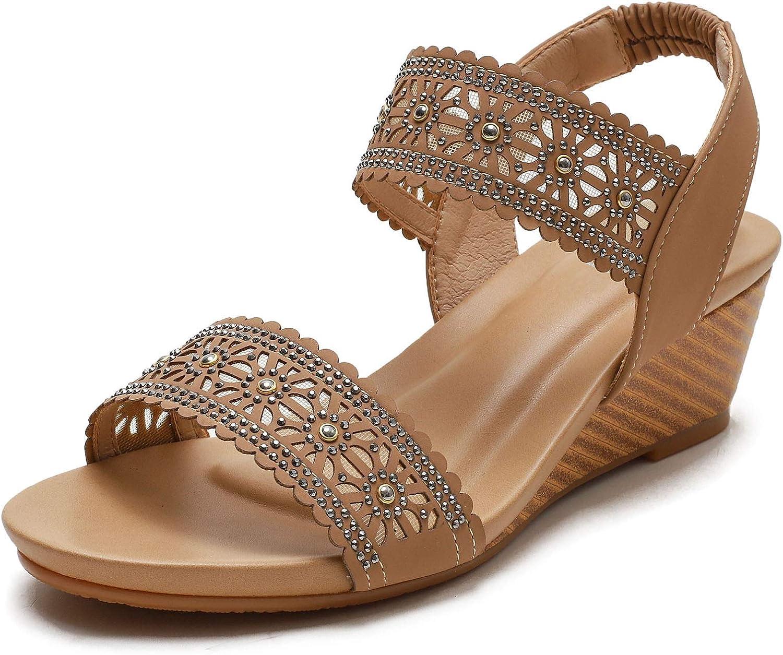 Saralris Wedge Sandals for Women Cutout Peep Toe Mid Heel Rhinestones Fashion Breathable Beach Sandals